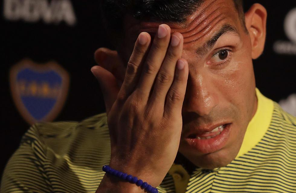 טבס במסיבת העיתונאים לאחר חזרתו (צילום: AP)