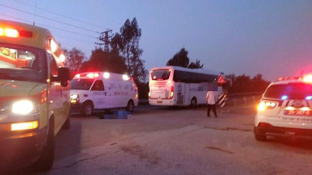 """זירת התאונה הבוקר בבית שאן (צילום: דוברות מד""""א) (צילום: דוברות מד"""
