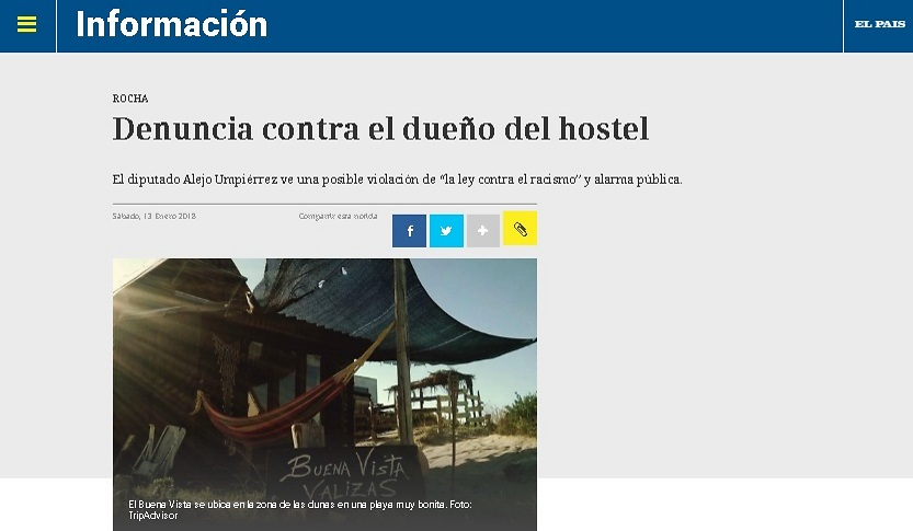 """""""תביעה נגד בעלי האכסנייה"""", כותרת הכתבה ב""""אל פאיס"""" (מתוך אתר העיתון """"אל פאיס"""")"""