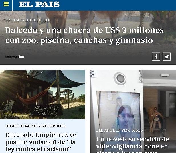 """מימין למטה: הכתבה אודות המקרה עם הזוג מישראל בדף הראשי (מתוך אתר העיתון """"אל פאיס"""")"""