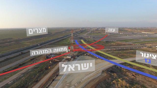 Место расположения туннеля (красная линия в центре). Желтой и синей линией обозначен газовый трубопровод