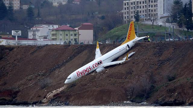 המטוס לאחר שהחליק לעבר הים (צילום: רויטרס) (צילום: רויטרס)