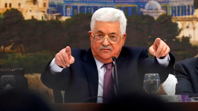 PA President Abbas, at the meeting (Photo: AFP)