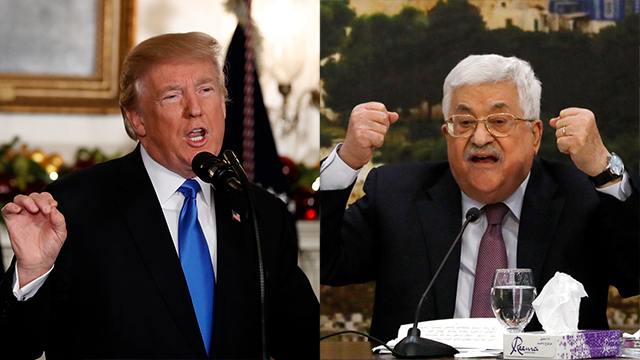 President Trump and PA President Mahmoud Abbas (Photo: Reuter, AP)