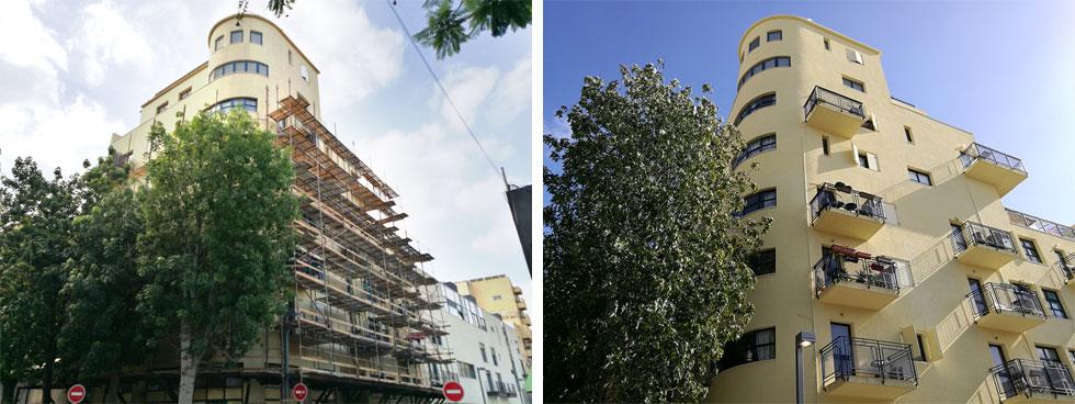 """הבניין במהלך השיפוץ (משמאל) ובסיומו. השיפוץ לא היה רק חיצוני וקוסמטי. בבניין טופלו אלמנטים רבים, אפילו צינורות הניקוז של מי המזגנים. """"גם לשוכרי דירות"""", אומר אור, """"מגיעה איכות חיים""""  (צילום: ציפה קמפינסקי)"""