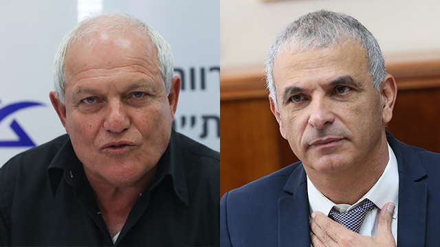 Welfare Minister Katz (L) and Finance Minister Kahlon shifted blame for the benefits agreement's failure to be implemented (Photo: Alex Kolomoisky, Ohad Zwigenberg)