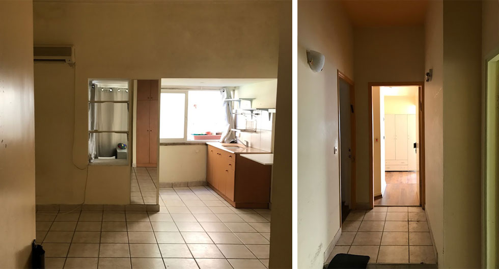 """מימין: המסדרון המחבר בין שלושת חלקיה של הדירה המפוצלת, לפני השיפוץ.  משמאל המטבח באחת הדירות הקטנטנות, במראה העלוב המוכר לשוכרים רבים בעיר. ''במהלך ההריסה"""", מספר המעצב דורי רדליך, """"הבנתי שבוצעו בדירה שינויים מבניים שלא מופיעים בתוכנית"""""""