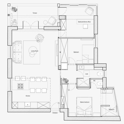 תוכנית הדירה לאחר ביטול הפיצול (תוכניות: dori interior design)