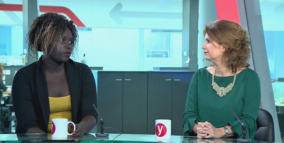Former Sudanese refugee Kerba (L) and MK Rozin spoke on behalf of refugees