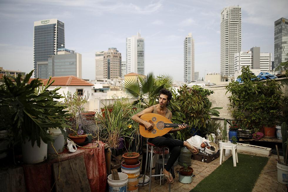 המוזיקאי אייר סמל (38) מנגן בעוד על הגג שבו הוא ושני שותפיו מגדלים מיני צמחים וירקות. אייר הקים גן אורגני על הגג, ויש בו גם עצי פרי (צילום: רויטרס) (צילום: רויטרס)