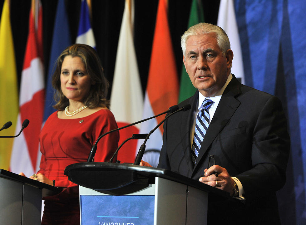 Canadian Foreign Minister Chrystia Freeland (L) and Tillerson conduct a press conference at the Vancouver Foreign Ministers' Meeting on Security and Stability on the Korean Peninsula, in Vancouver, British Columbia, Canada (Photo: AFP)
