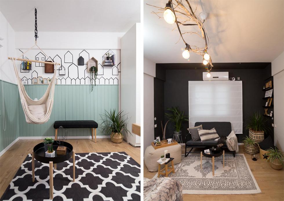 """החדר של אלכסנדר מצרפת (מעצבות: קרן שלום, מיטל מירון וענת גרסי קפלן). """"סיפרתי למעצבות שאני אוהב צמחים ולא אוהב צבעים - וזה בדיוק מה שמצאתי כשחזרתי"""".  משמאל: החדר של אריאל מצ'ילה (מעצבות: שרה כרמל ברמן, לירז ארז וענבל מור). חיפוי העץ הישן נצבע מחדש (צילום: נויה שילוני חביב)"""