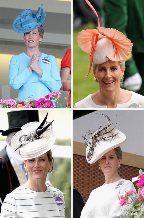 בין אם זה במרוצי סוסים, באירועים ממלכתיים או בחתונות חגיגיות, אי אפשר לפספס את הכובעים של הרוזנת (צילום: Gettyimages)