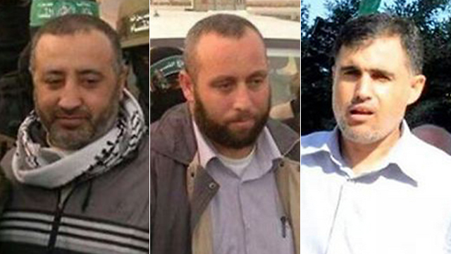 The three senior Hamas commanders, from left to right: Abu Shmallah, Raed al-Attar and Mohammed Barhoum