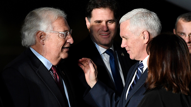 Pence with US Ambassador to Israel David Friedman. In the past, a vice president's visit had some substance, meaning and a political purpose (Photo: Matty Stern/US Embassy Tel Aviv)