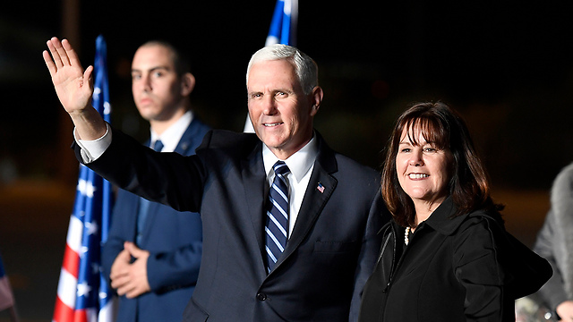 Mike Pence with his wife Karen upon their arrival in Israel, Sunday evening (Photo: Matty Stern/US Embassy Tel Aviv)