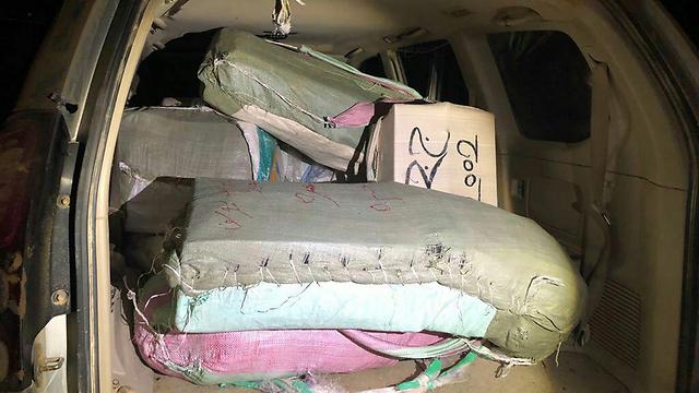 Vehicle packed with 100 kilograms of marijuana (Photo: Israel Police)