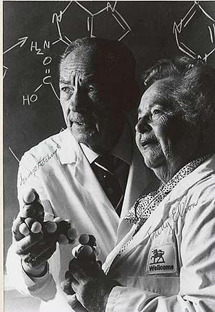 גרטרוד עליון במעבדה עם ג'ורג' היצ'ינגס ב-1988 (צילום: מתוך אתר פרס נובל)