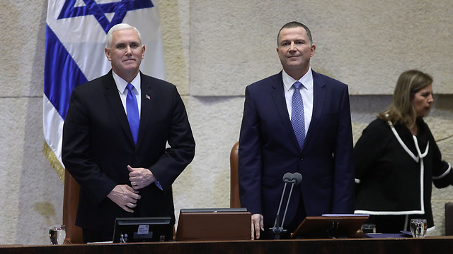 Pence and Edelstein at the Knesset (Photo: Yitzhak Harari/ Knesset Spokesperson's Office)