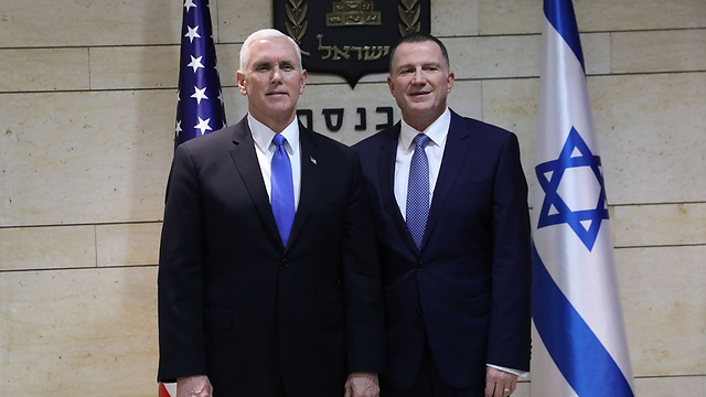 Pence and Edelstein at the Knesset (Photo: Knesset)