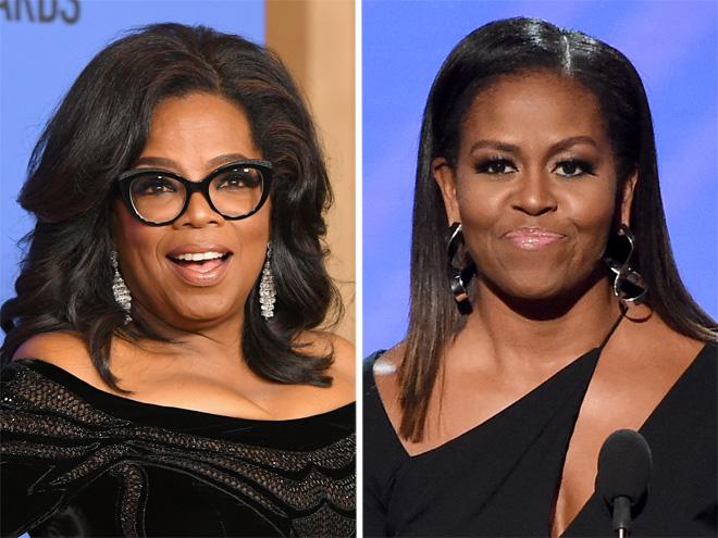 מודעות פוליטית ושיער מוחלק. מישל אובמה ואופרה ווינפרי (צילום: Gettyimages)
