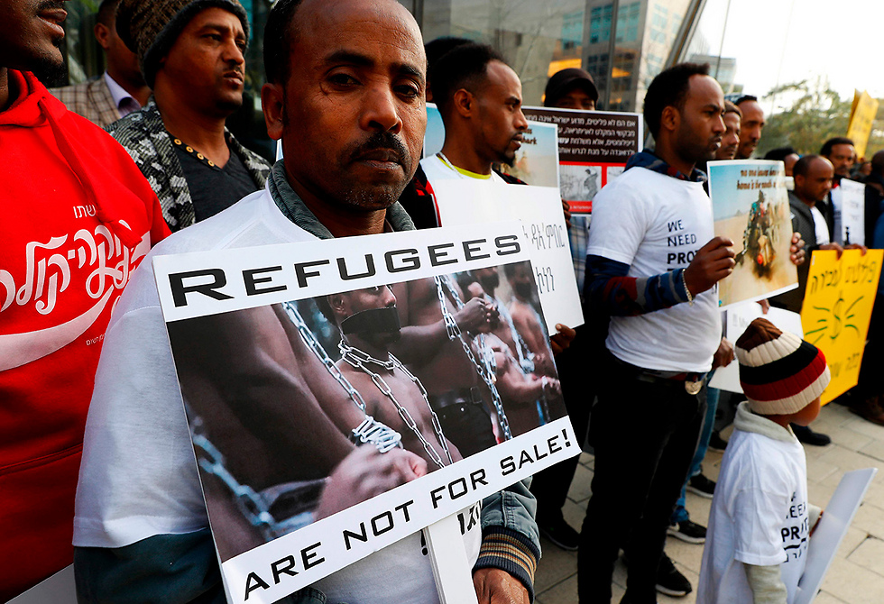 Demonstration of asylum seekers (Photo: AFP)