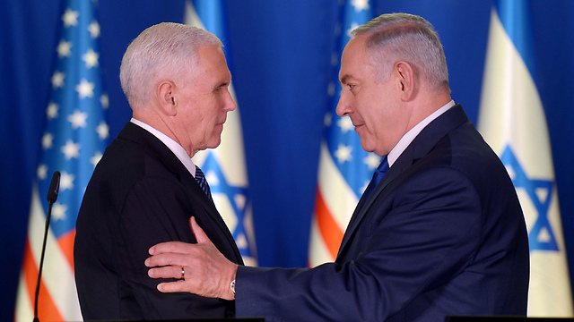 Pence and Netanyahu during joint rpess conference in Jerusalem (Photo: Avi Ohayon/GPO)
