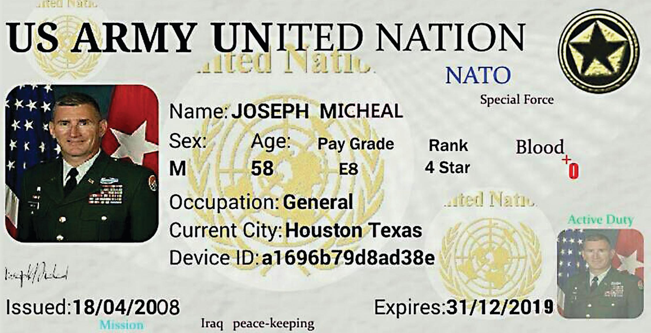 """הזיוף - תעודה מזויפת של קצין בנאט""""ו. התצלום הוא של הגנרל האמריקאי  ג'ון וולש ממונטנה, אבל התעודה  על שם ג'וזף מייקל מטקסס"""