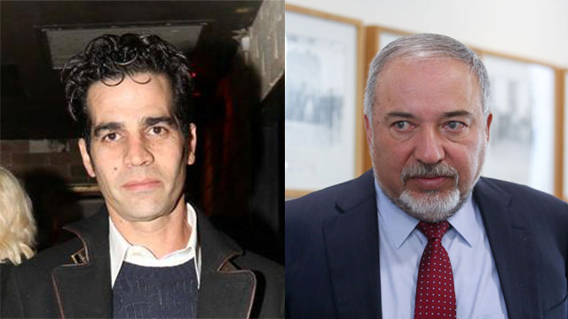 Aviv Geffen (L) defended his father from Defense Minister Lieberman's call for a boycott (Photo: AFP, Anat Mosberg)
