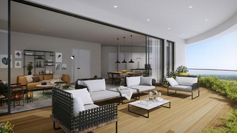 הדמיה של דירה בפרויקט. המרפסות חובקות את הדירה מכל הצדדים, כך שיש קשר עין רציף ולא רק מהסלון (הדמיה: 3D VISION)