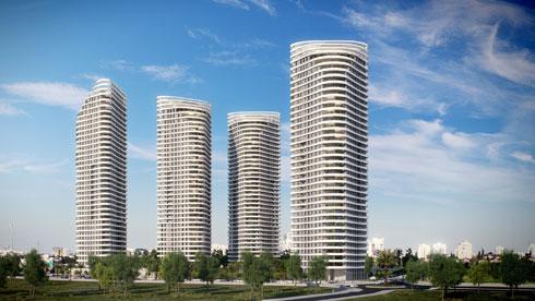המגדלים המשולשים לא ''מצדיעים למערב'', כהגדרתה של הירש, ונמנעים מההיררכיה האוטומטית של כל היזמים (הדמיה: 3D VISION)
