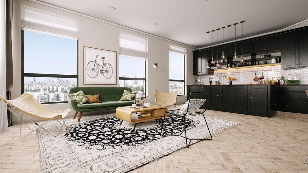 הדמיה של דירה אחרת. בחלק מהדירות הקטנות, אגב, יש רק כיוון אוויר אחד. לאן ייפלטו אדי הריח מהבישול? ''יהיה אוורור מכני נוסף בדירות כאלו'', אומרת האדריכלית (הדמיה: 3D VISION)