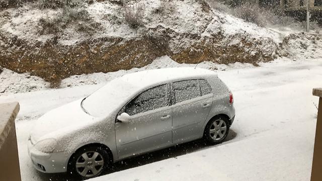שלג במג'דל שמס (צילום: סלמאן מאדח) (צילום: סלמאן מאדח)