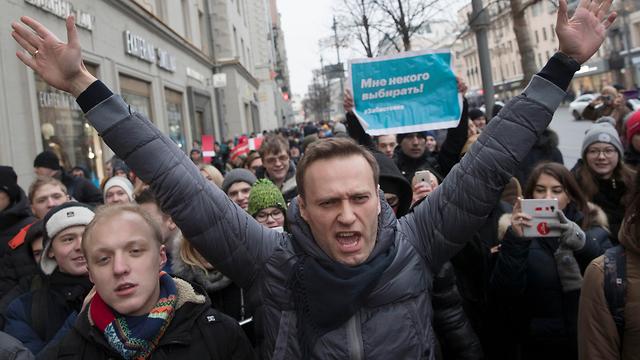 מנהיג האופוזיציה טוען שפוטין מקבל קולות רבים משום שאין מועמדים רציניים מולו. אלכסי נבלני (צילום: AP)