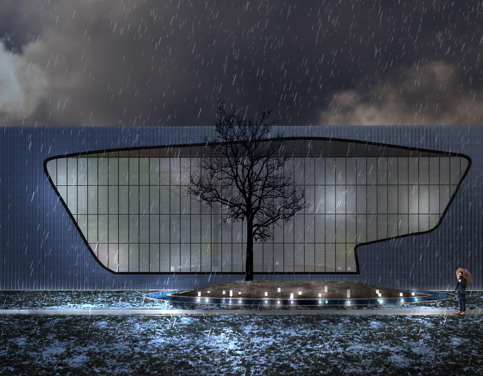 הדמיה של האנדרטה בלילה. תעלת מים מחופה בפלדת קורטן תפריד בין המבקרים לבין מרכז האנדרטה, באופן שאי-אפשר להיכנס אליה (הדמיה: תומר שחם)