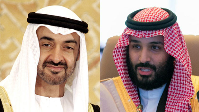 לקחו את מושכות ההנהגה לידיהם בזמן שהשליט עדיין בחיים. מוחמד בן סלמאן הסעודי (מימין) ומוחמד בן זאיד אאל נהיאן מאיחוד האמירויות (צילום: AP)