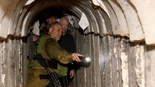 Greenblatt touring a terror tunnel last month. Iran was providing Hamas with $100 million annually for terrorism, he said (Photo: COGAT)
