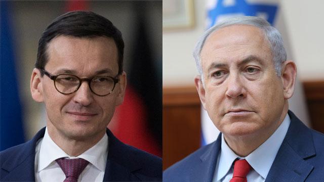 Polish Prime Minister Mateusz Morawiecki; Prime Minister Benjamin Netanyahu  (Photo: Alex Kolomoisky, Getty Images)