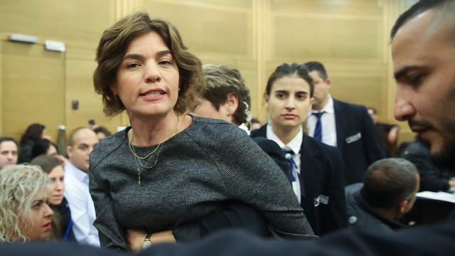 MK Zandberg said the Likud party was 'friends with Nazis' as she was being removed from the hall (Photo: Ohad Zwigenberg)