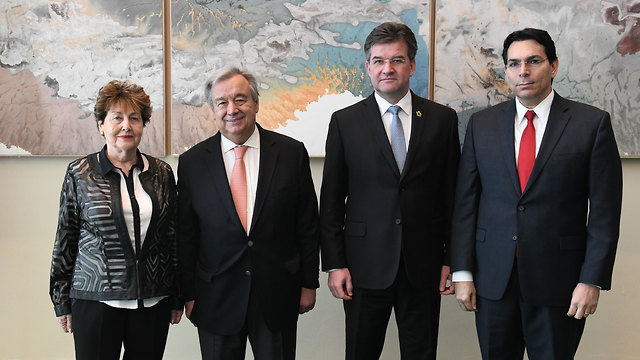 Danon (R), Guterres (second left) and Eva Lavi (L) (Photo: Nir Arieli)