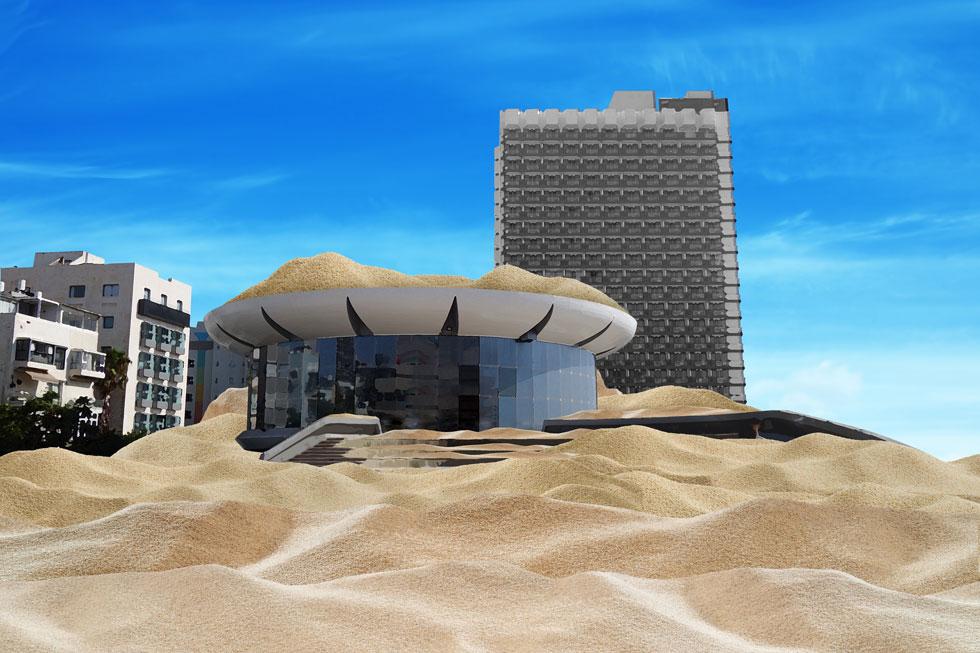 ההצעה של ניסן אלמוג: לפרוק חול בכיכר, בקולוסיאום ועל הגג שלו, וליצור גבעת חול שמזכירה את הכורכר שהיה פה פעם (צילום: מיכאל יעקובסון, עיבוד ודימוי: נעם רוזנברג)