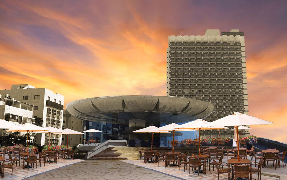 בית קפה עם תצפית מרהיבה לים ולשדרות בן גוריון - כמה פשוט. הצעתו של דני קרוון (צילום: מיכאל יעקובסון, עיבוד ודימוי: נעם רוזנברג)