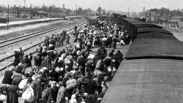 Jews at the train station near Auschwitz (Photo: AFP)