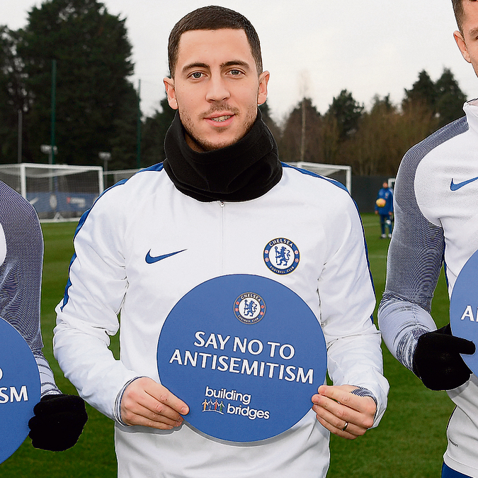 Chelsea's Eden Hazard with the campaign sign  (Photo: Chelsea FC)