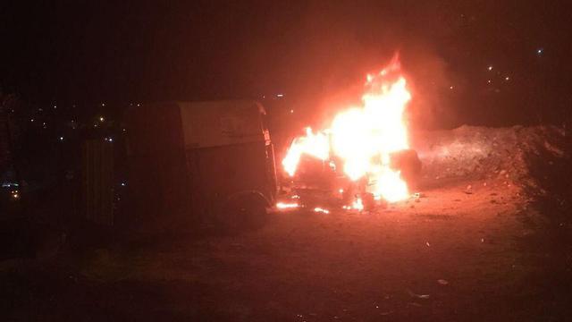 The Israeli's vehicle was burned to ash
