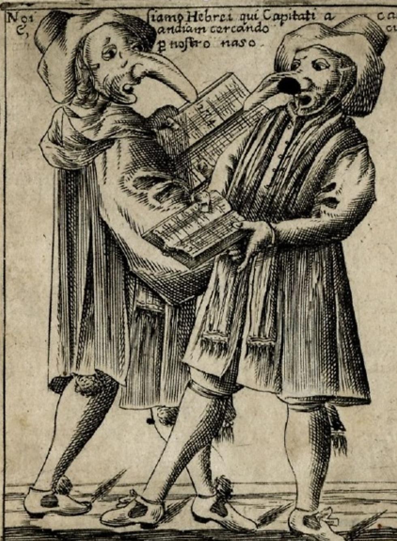 אימה בקהילה לפני כל תקופת קרנבל: מסכות אנטישמיות בקרנבל באיטליה, 1642. תחריט של Francesco Bertelli ()
