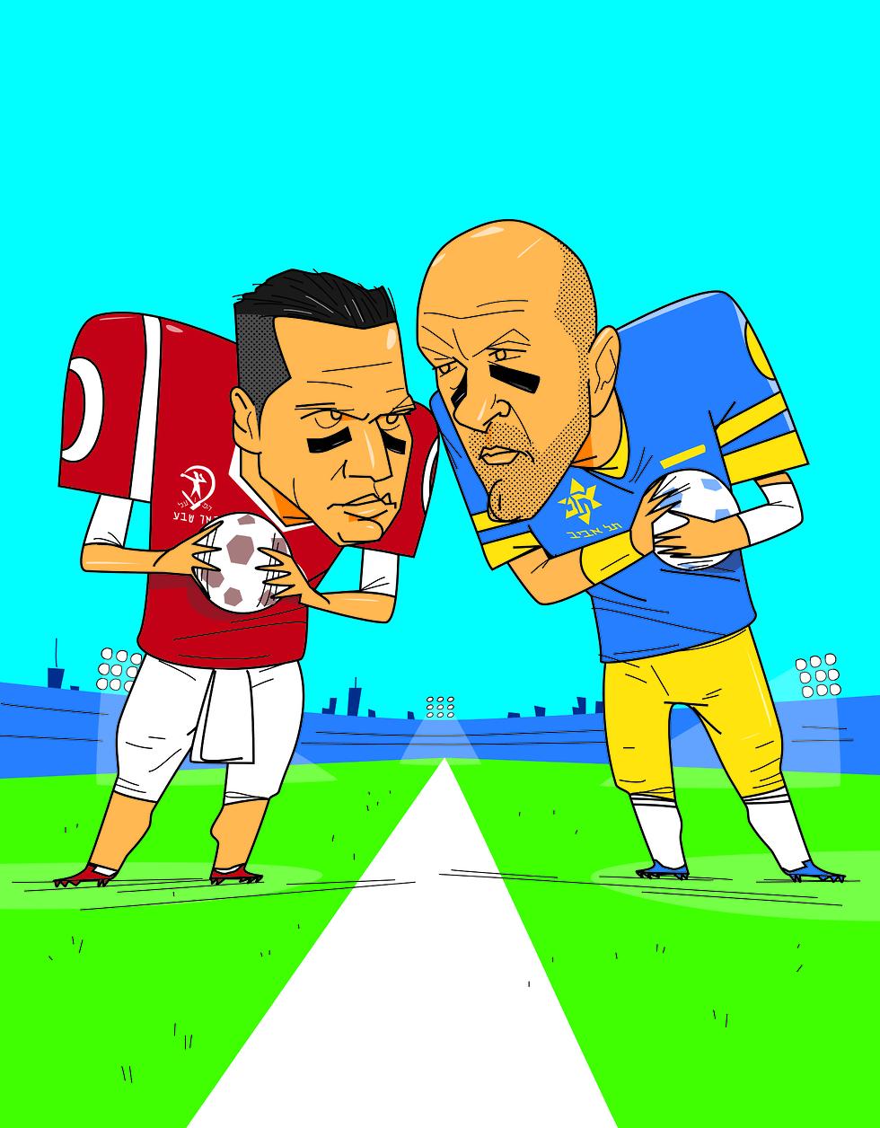 ג'ורדי קרויף וברק בכר, באווירת הסופרבול (איור: ליאו אטלמן) (איור: ליאו אטלמן)