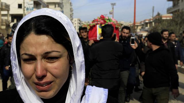 הלוויה של לוחמי המיליציה הכורדית YPG שנהרגו בקרבות עם טורקיה (צילום: AFP) (צילום: AFP)