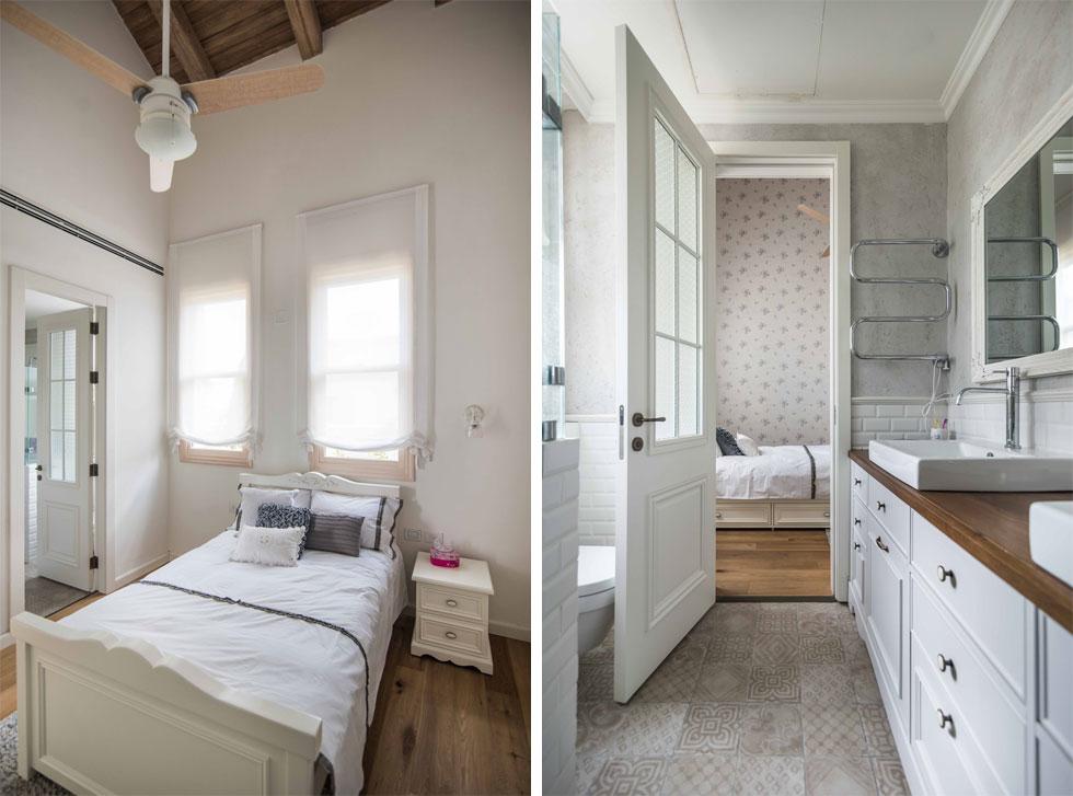 חדרי שלוש הבנות בהירים. בין שניים מהחדרים יש חדר רחצה משותף. לחדר השלישי יש מקלחת צמודה (צילום: גלעד רדט)