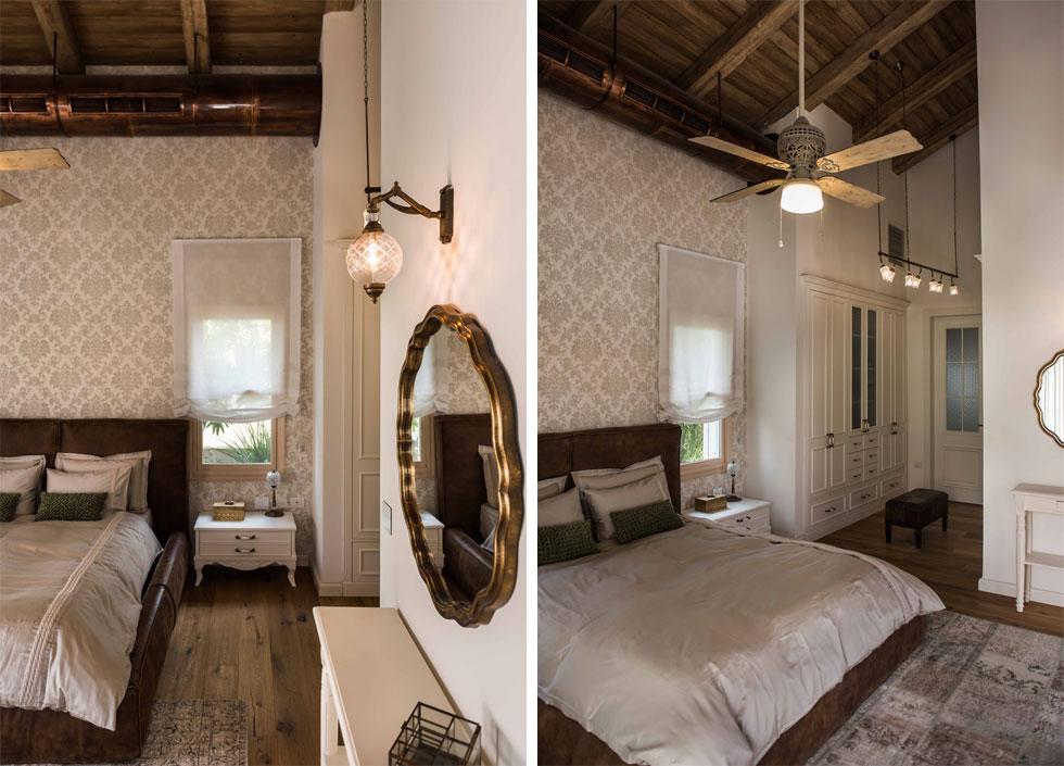 במרכז חדר ההורים מיטה מרופדת בעור. חדר ארונות מוביל לחדר רחצה רומנטי  (צילום: גלעד רדט)